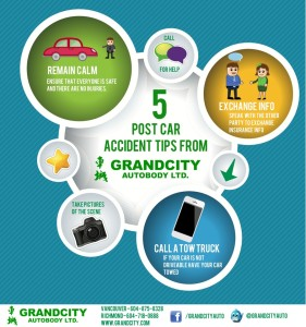 Grandcity Autobody Vancouver and Richmond Infographic 5 tips for post car accidents