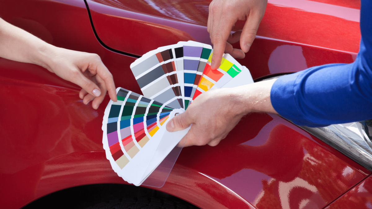 image of car paint swatches in front of car body